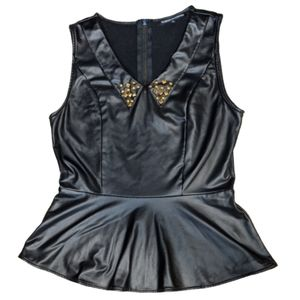 Foreign Exchange Faux Leather Peplum Blouse